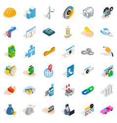teamwork icons set isometric style vector image