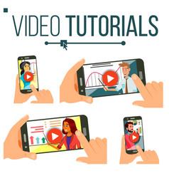 video tutorial set streaming video online vector image