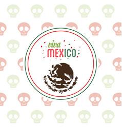 Viva mexico invitation party emblem vector