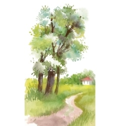 Watercolor painting landscape with blooming spring vector