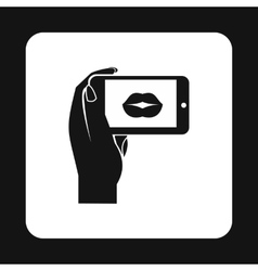 Woman taking photo of lips on smartphone icon vector image