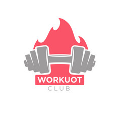 workout club promotion banner dumbbell on vector image