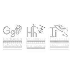 writing practice letters ghi coloring book vector image