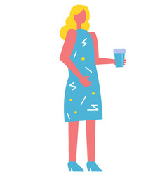 young blonde girl with plastic coffee cup vector image