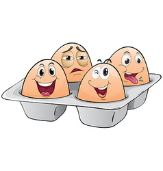 An eggtray with four eggs vector image vector image