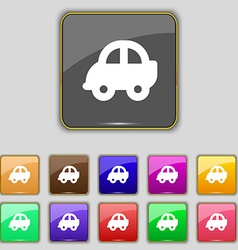 Auto icon sign Set with eleven colored buttons for vector image vector image