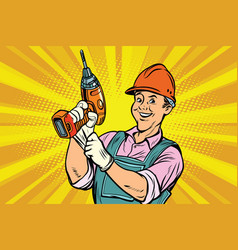 construction worker with the repair tool drill vector image