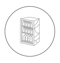 fridge with drinks icon in outline style isolated vector image