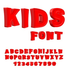 Kids font 3D letters Alphabet for children Red vector image