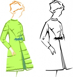 retro fashion sketches vector image