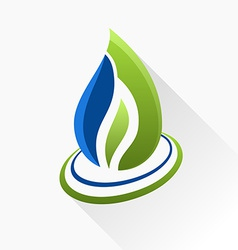 symbol fire Blue and green flame glass icon with vector image vector image