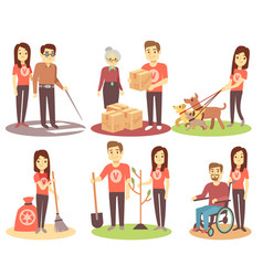 volunteering and supporting people flat vector image vector image
