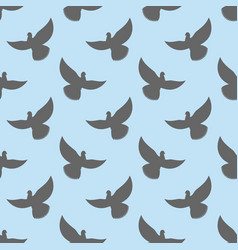 black dove seamless pattern pigeons flying vector image vector image