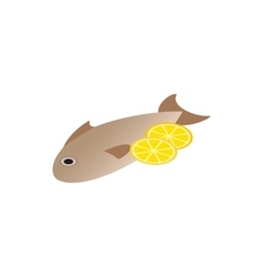 Fish dish icon isometric 3d style vector image