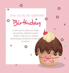 Happy birthday card with cupcake vector