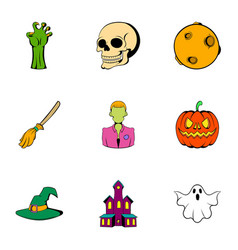pumpkin head icons set cartoon style vector image vector image