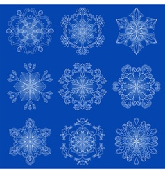 vintage snowflake set in zentangle style Original vector image vector image