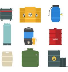 Barrel capacity tanks set vector