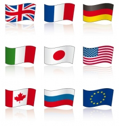 flags of g8 members reflection vector image vector image