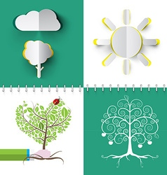 Nature Symbols Set Paper Cut Cloud Tree and Sun vector image