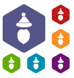 santa claus hat and beard icons set vector image vector image