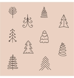 Set of hand drawn abstract Christmas tree vector image vector image