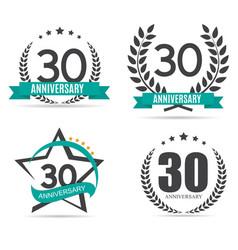 Template Logo 30 Years Anniversary Set vector image vector image