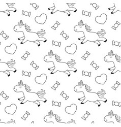 unicorn coloring page with sweets for kids vector image