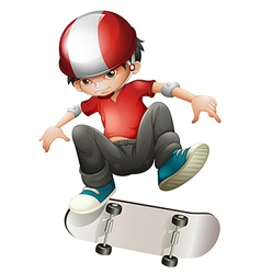 A young man playing with his skateboard vector image