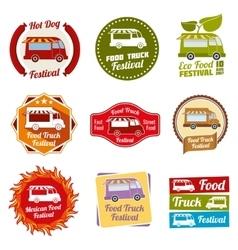 Car street food festival color labels set vector image vector image