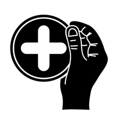 Contour hand with cross medicine symbol to help vector