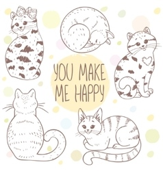 cute cats set vector image vector image