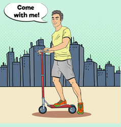 pop art young man driving kick scooter in the city vector image vector image