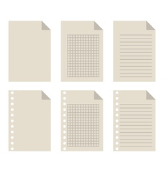 set of blank sheets of paper vector image