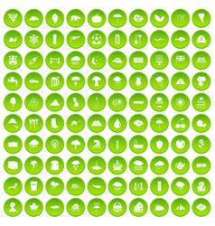 100 rain icons set green circle vector