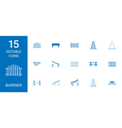 15 barrier icons vector