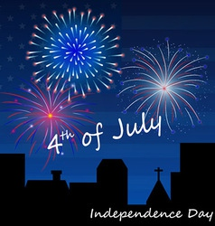 4th july fireworks background vector image