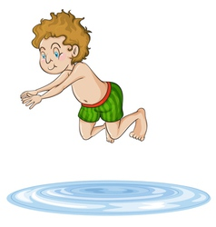 A boy diving into water vector