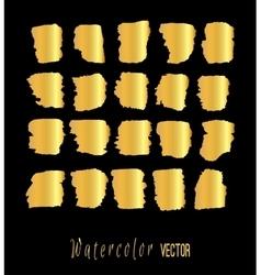 Abstract gold watercolor blots set vector