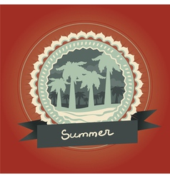 Abstract logo - retro label with palm trees vector