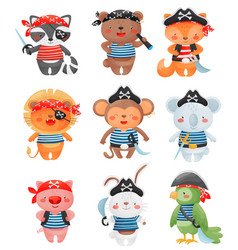 Animal pirates characters in cartoon style set of vector