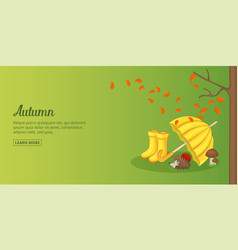Autumn time banner horizontal man cartoon style vector