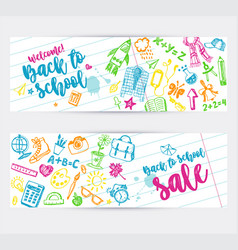 back to school promo banner design vector image