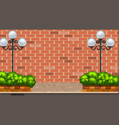 Background scene with brickwall and street lamps vector