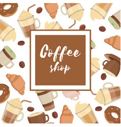 Background with various coffee cups vector