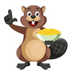 beaver holding snacks on white background vector image