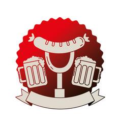 beer glasses and sausage on fork emblem vector image