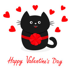 black cat icon with round bow red heart set cute vector image