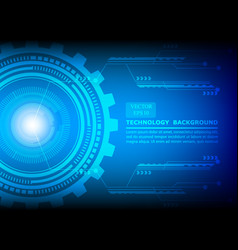 blue technology background circle cog pattern vector image