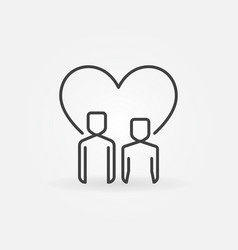 boy and girl with heart outline icon vector image